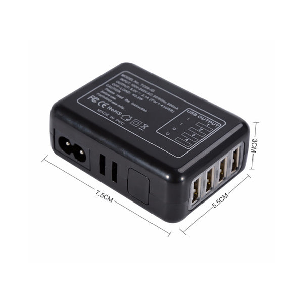 4-port USB Hub Ports Wall Charger AC Plug Adapter For Mobile Cell Phone BLACK