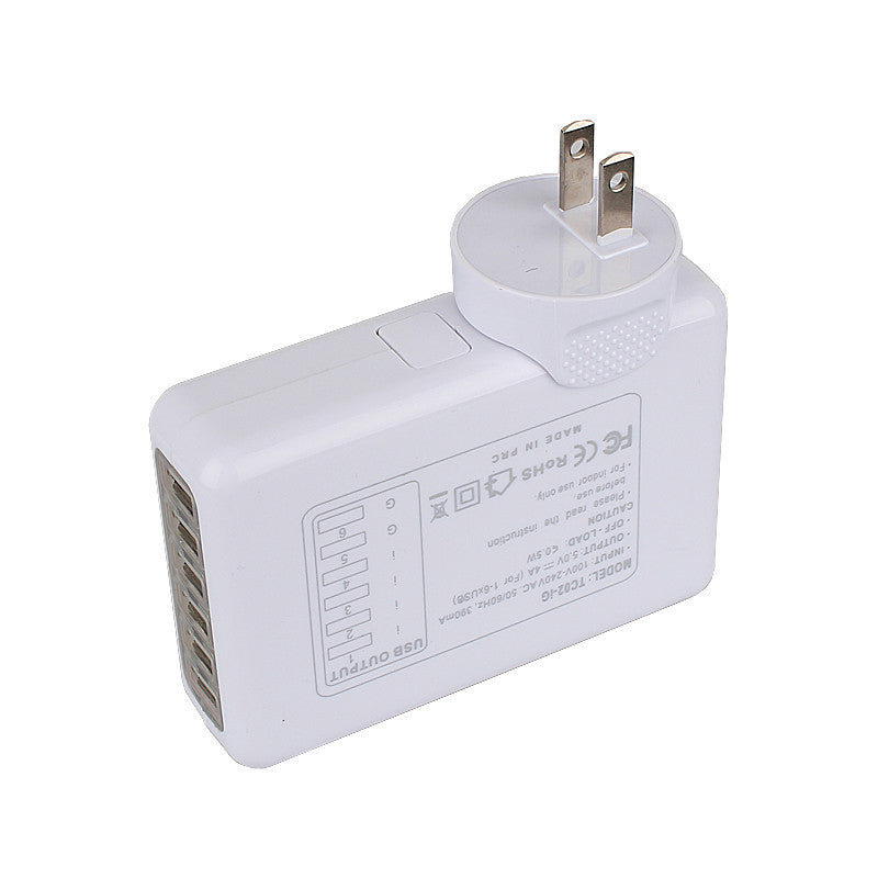 New White 6 Port USB Travel Charger AC Plug Adapter Wall Power Outlet Socket