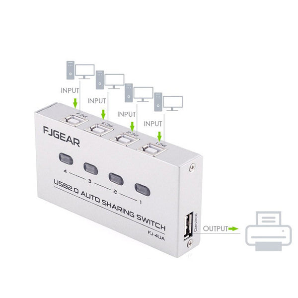 4 Port USB2.0 Auto Sharing Switch HUB For Printer Scanner Keyboard Mouse