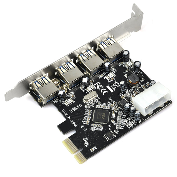 axGear USB 3.0 PCI-E Card 4 Port Hub PCIE Express Controller Adapter Card 5Gbps High Speed