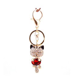 Cat Crystal Rhinestone Key Ring With Chain Purse Holder