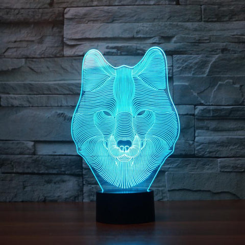 3D Wolf LED Lamp
