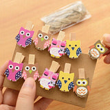 Mini Owl Postcard Clips 10 Pieces