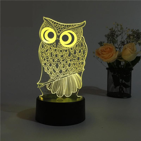 Cute Owl 3D LED Lamp