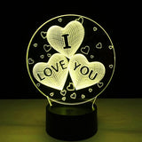 I Love You Hearts 3D LED Lamp