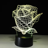 Rose 3D Multicolor LED Lamp