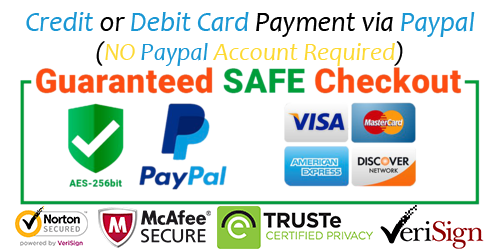 mcafee secured - paypal, visa, master, amex, amazon, discovery