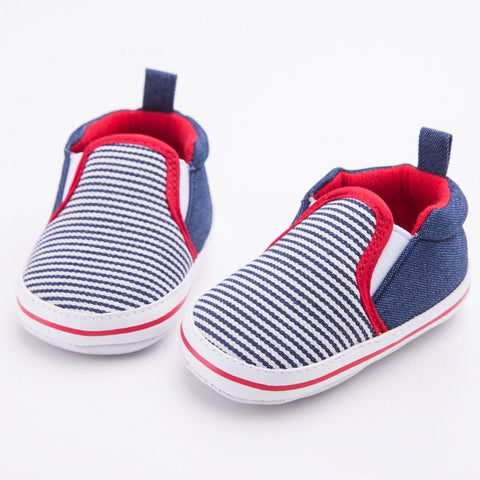 0-12 M Toddler born Infant Baby Boys Girls Crib Shoes Dark Blue Striped Pattern First Walkers Soft Bottom Baby Shoes