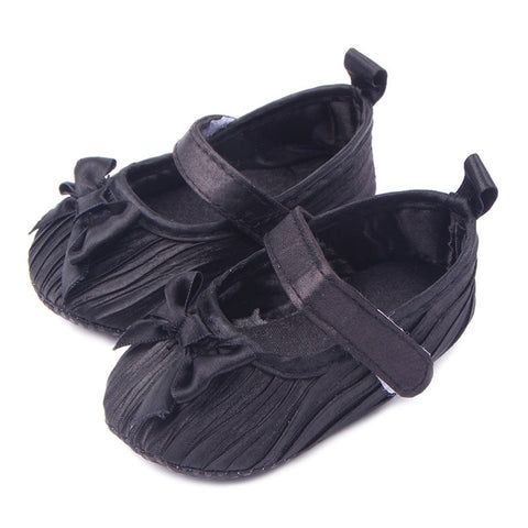 0-12M Baby Shoes First Walkers Toddler Girl Silk Bowknot Fold Upper Shoes Soft Sole Sneakers 3 Colors HT