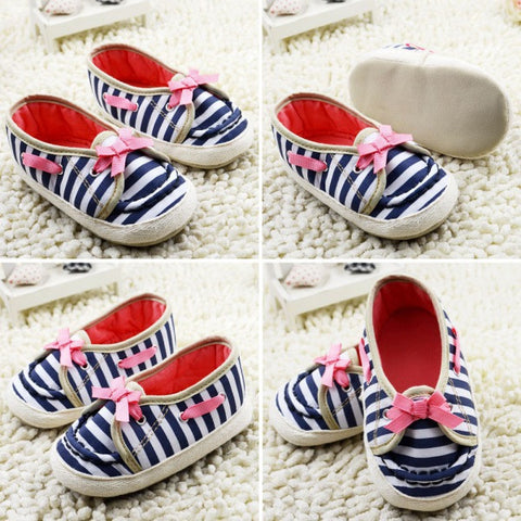 0-12M born Baby Girl Shoes Bow Striped Soft Sole Princess Toddler Infant Shoes