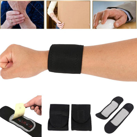 1 Pair Tourmaline Self-Heating Wrist Band Far Infrared Magnetic Therapy Heating Pad Super cheap JD