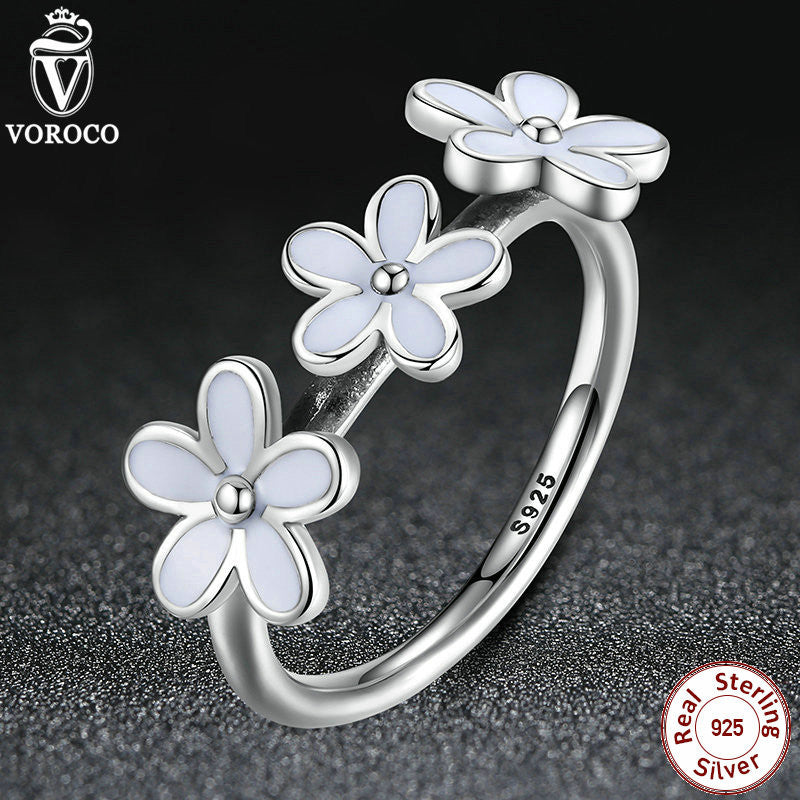 925 Sterling Silver Darling Daisies Stackable Ring for Women Wedding White Enamel Compatible with VRC Jewelry A7148