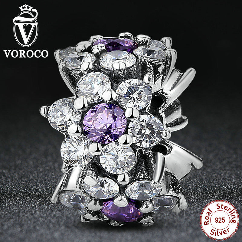 925 Sterling Silver Jewelry FORGET ME NOT SPACER Purple Charms fit Pandora Bangle Bracelet Beads Jewelry Making S286
