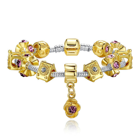 14K Gold Plated Crown Charm Bracelet for Women With Murano Glass Beads