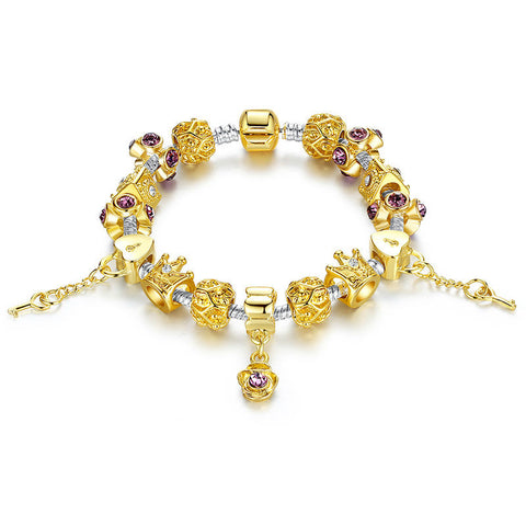 14K Gold Plated Crown Charm Bracelet for Women With Murano Glass Beads Birthday  A1428