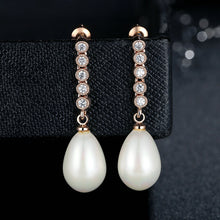 18k Rose Gold Plated Long Earrings with Pearls & Zirconia for Women Crystals Dangle Earrings Jewelry GIE061-RG