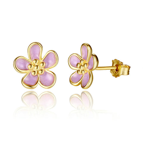 2 Color 925 Sterling Silver Cherry Blossom Stud Earrings, Purple Enamel Earrings for Women Compatible with VRC Jewelry S454