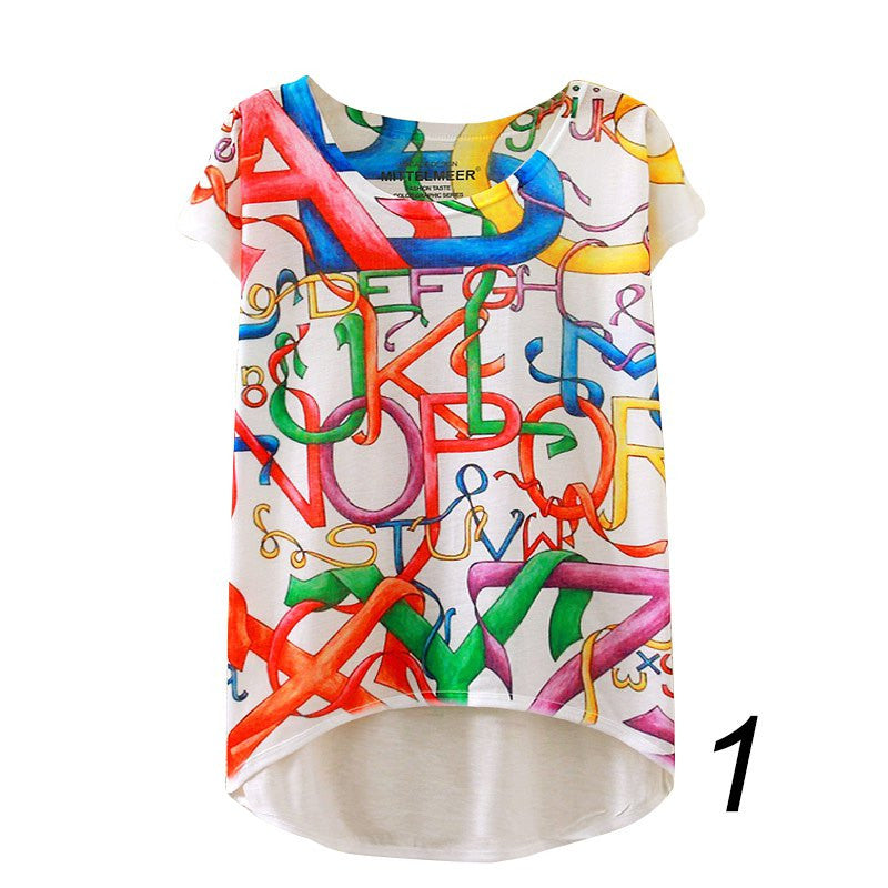 20 England Styles Girl Teenager Printed Loose Casual Short Sleeve Printing Bat Shirt    Tops LZH7