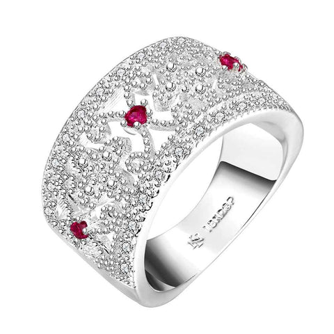 silver plated ring fashion jewelryBroadside multi-Zircon ring SMTR270