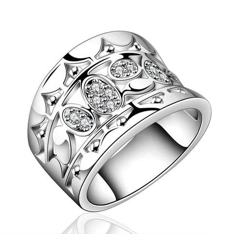 silver plated ring fashion jewelrycubic width eye ring SMTR570