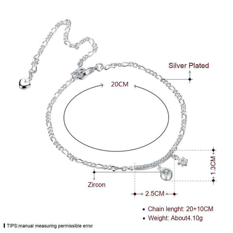 Girls Silver plated jewelry Insets Star sliver anklet bracelets bangles ankle on the leg for women SMTA015