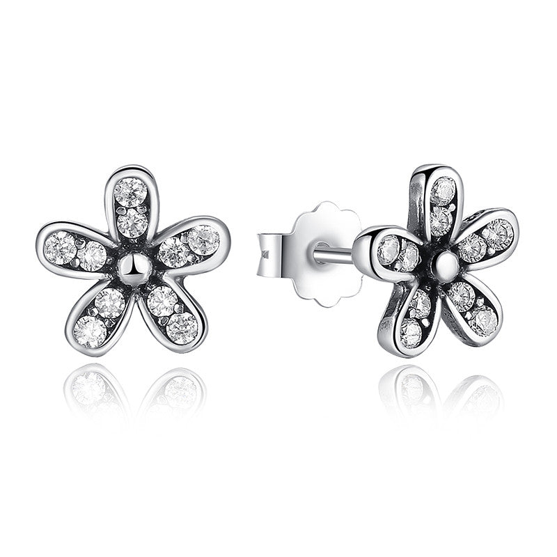 Authentic 925 Sterling Silver Dazzling Daisy Stud Earrings with Clear CZ Compatible with VRC Jewelry S403
