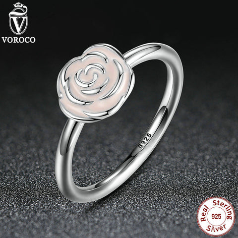 925 Sterling Silver Rose Garden Stackable Ring Pink Enamel Ring for Women Wedding Compatible with VRC Jewelry A7134