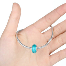 Silver Plated Blue Transparent Murano Glass Beads DIY Craft For Female Bracelets Fashion Jewelry A6360