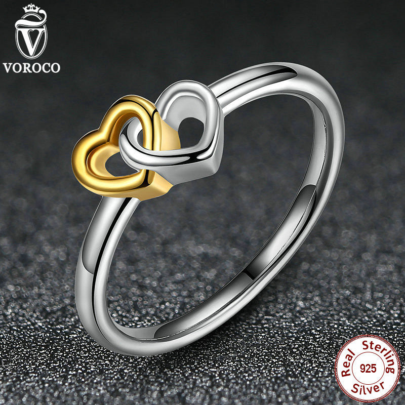 Rings 925 Sterling Silver Heart to Heart Ancient Silver & Gold Ring Compatible with Pan Jewelry 7173