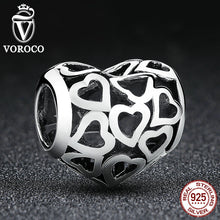 Arrive 925 Sterling Silver Heart Charms fit Original Pandora Bracelets Necklace Women Engagement Accessories C024