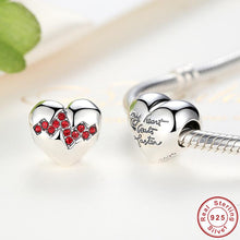 Fashion Arrival 925 Sterling Silver Red Crystals Heart Beads Charms fit Pandora Bracelets Necklace C017