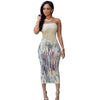Watermark Floral Print Maxi Dress Long Strapless White Dashiki Dress Bodycon Elegant Long Party Dresses Evening