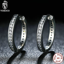 Trendy 925 Sterling Silver Cubic Zirconia Simple Item Women Hoop Earrings Compatible With VRC Jewelry S456