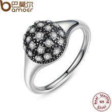 Wedding Finger Rings 925 Sterling Silver Round Pave Setting Ancient Silver Ring Compatible With Pan Jewelry 7172