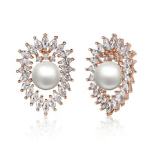 Freshwater Pearl Earrings with Crystals Stud Earrings Set Engagement Wedding Jewelry GIE064