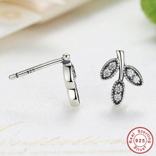 Presents 925 Sterling Silver Clear CZ Sparkling Leaves Stud Earrings Compatible With VRC Earrings Jewelry S416