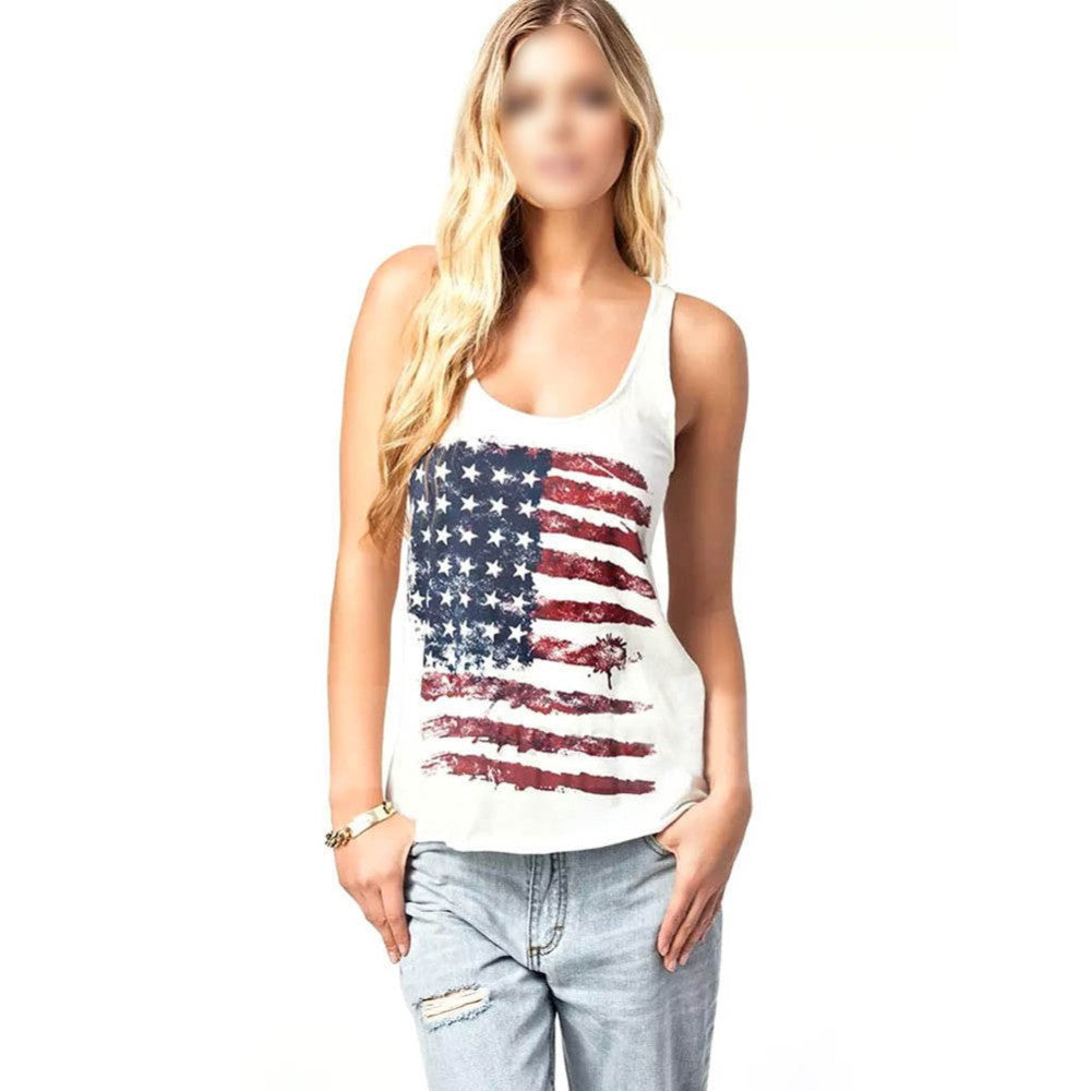 Sexy  American Flag Vest Tank Tops Sleeveless Shirt Blouse Camisole