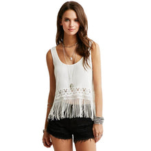 Crochet Lace Tank Top Tassel Fringe Crop Top Scoop Neck Sleeveless Casual Camisole Top Vest  Blusas Feminino