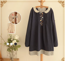 Mori Girl Hollow Out Peter Pan Collar Cute Buttons Long Sleeve Dress