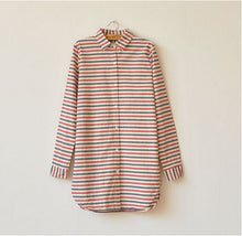 Mori Girl Transverse Striped Long Sleeve Turn-down Collar Shirt