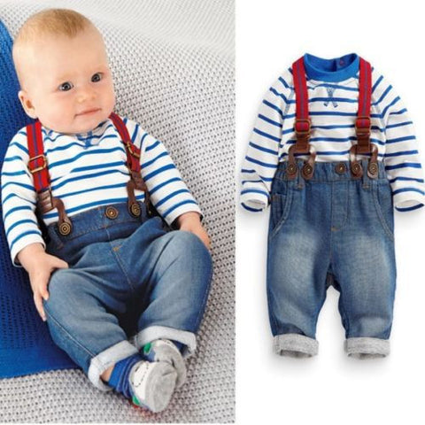 2PCS Baby Boys Toddler Striped T-shirt Top+ Jeans Bib Pants Clothes Sets 0-3Y