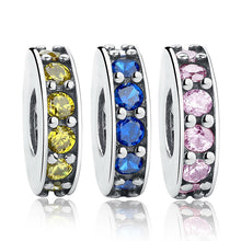 3 Color 925 Sterling Silver Eternity, Royal Blue Crystal Bead Charms Fit Original Pandora Bracelets Necklace DIY Jewelry S102