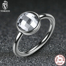 3 Color Classic 925 Sterling Silver Rings White & Blue Big Glass Stone Finger Ring Compatible with VRC Women Jewelry A7182