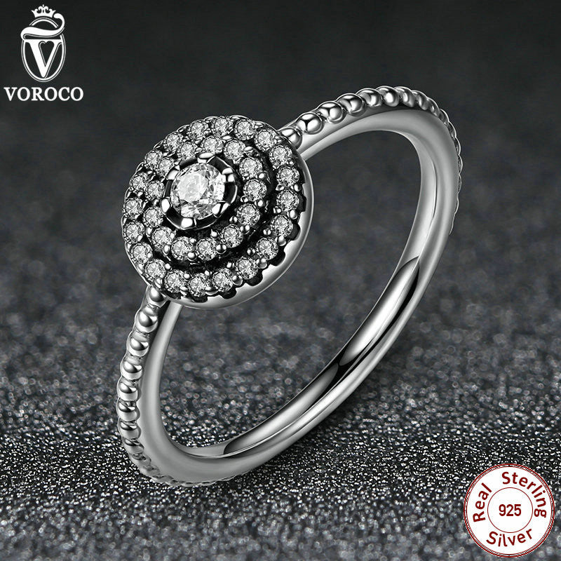 3 Size 925 Sterling Silver Round Shape Radiant Elegance, Clear CZ Flower Finger Rings for Women Ring Jewelry A7178