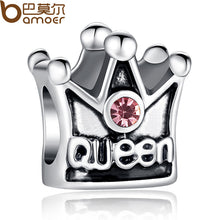 4 Colors Luxury Silver Plated Queen Crown Charm Fit Pandora Bracelet Necklace Original Accessories with Clear CZ A5271