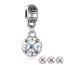 4 Colors Silver Plated Flower Pendant Fit Pandora Bracelet Necklace Original Charm Accessories with Clear CZ A5277