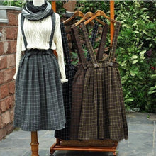Mori Girl Vintage Thickening Plaid Brace Skirt With Belt