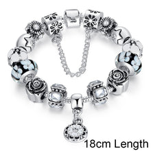 5 Colors Original 925 Silver Black Round Charm Bracelet with Safety Chain for Women Luxury Jewelry A1854