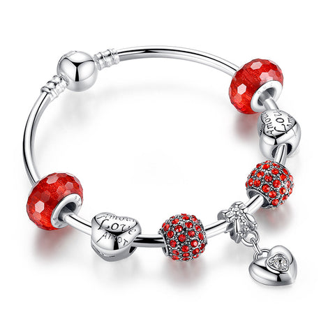 925 Silver Charm Bangles & Bracelets with Heart Pendant & Red Crystal Ball LOVE Charms Compatible with Pan Bracelet A3068