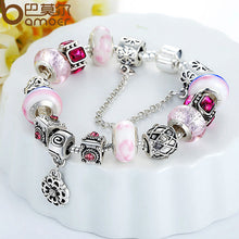 925 Silver Charm Bracelet with Flower Round Pendant & Safety Chain Stopper Popular in Russia & Belarus A1441